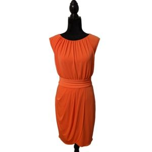 Trina Turk Orange Pleated Front Dress